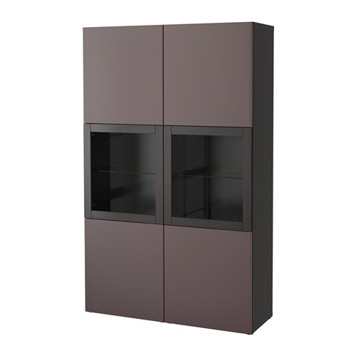 【IKEA/イケア/通販】 BESTÅ 収納コンビネーション ガラス扉付き, ブラックブラウン, ヴァルヴィーケン ダークブラウンクリアガラス(a)(S59187406)