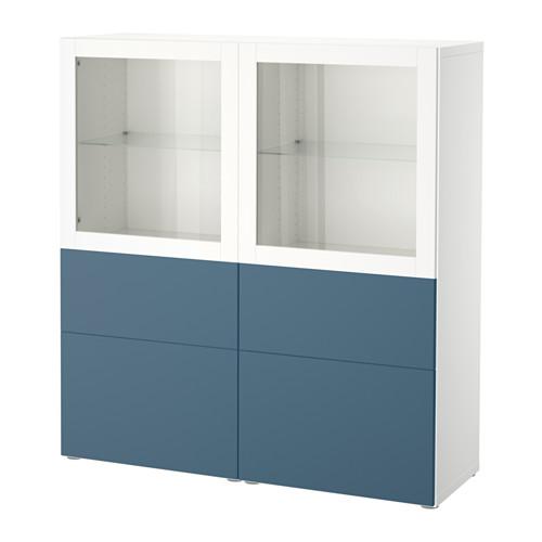 【IKEA/イケア/通販】 BESTÅ 収納コンビネーション ガラス扉付き, ホワイト ヴァルヴィーケン, ダークブルー クリアガラス(a)(S59205288)