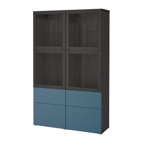高級感 【IKEA/イケア/通販】 BESTÅ 収納コンビネーション ガラス扉付き, ブラックブラウン BESTÅ ヴァルヴィーケン, ガラス扉付き, ダークブルー クリアガラス(a)(S59207683), ハイランドブレス:42918745 --- jf-belver.pt
