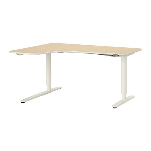 【IKEA/イケア/通販】 BEKANT コーナーデスク 左 電動昇降式, バーチ材突き板, ホワイト(b)(S69187712)