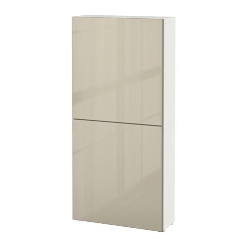 【IKEA/イケア/通販】 BESTÅ ウォールキャビネット 扉2枚付き, ホワイト, セルスヴィーケン ハイグロス/ベージュ(a)(S69187203)
