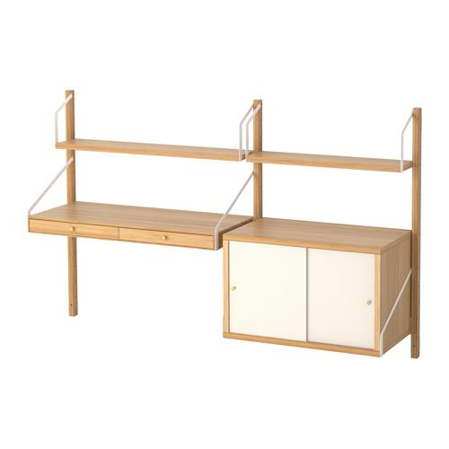 【IKEA/イケア/通販】 SVALNÄS 壁取り付け式ワークスペースコンビネーション, 竹, ホワイト(a)(S69184445)