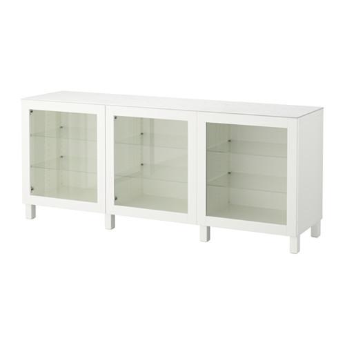 【IKEA/イケア/通販】 BESTÅ 収納コンビネーション 扉付, ホワイト, シンドヴィーク ホワイトクリアガラス(a)(S69209733)