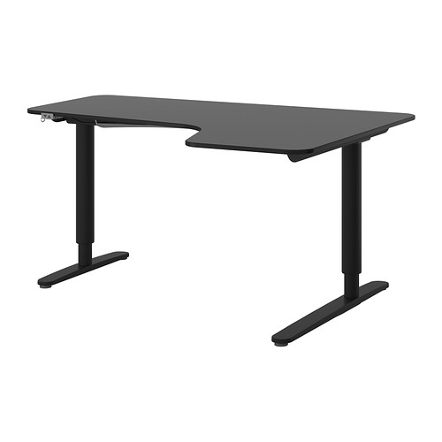 【IKEA/イケア/通販】 BEKANT コーナーデスク 右 電動昇降式, ブラックブラウン, ブラック(b)(S69187750)
