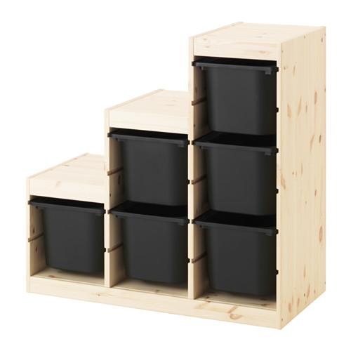 【IKEA/イケア/通販】 TROFAST 収納コンビネーション, ライトホワイトステインパイン, ブラック(a)(S69240903)