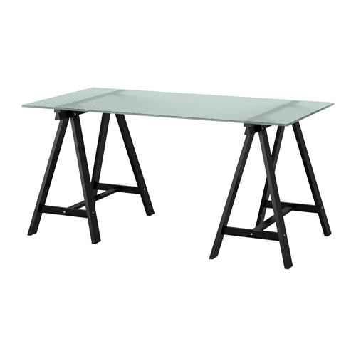 【IKEA/イケア/通販】 GLASHOLM / ODDVALD テーブル, ガラス, ハニカム模様 ブラック(a)(S69213688)