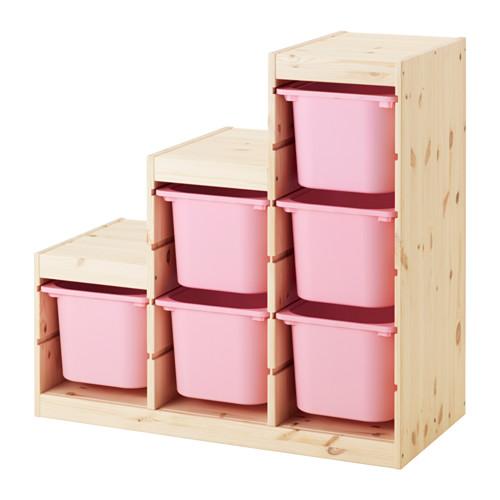 【IKEA/イケア/通販】 TROFAST 収納コンビネーション, ライトホワイトステインパイン, ピンク(a)(S69240899)
