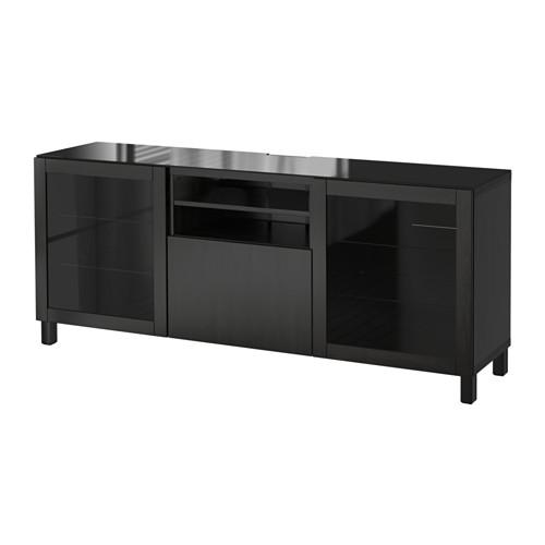 【IKEA/イケア/通販】 BESTÅ テレビ台, ラップヴィーケン, シンドヴィーク ブラックブラウンクリアガラス(a)(S69196764)