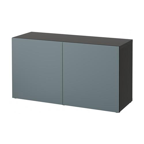 【IKEA/イケア/通販】 BESTÅ シェルフユニット 扉付, ブラックブラウン, ヴァルヴィーケン グレーターコイズ(a)(S79221409)