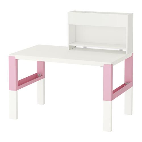 【IKEA/イケア/通販】 PÅHL デスク 追加ユニット付き, ホワイト, ピンク(d)(S79245151)