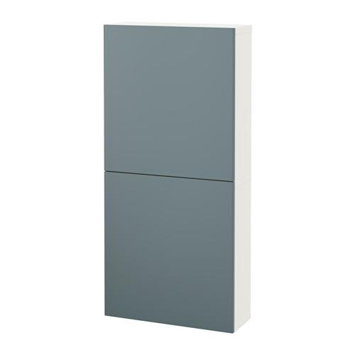 【IKEA/イケア/通販】 BESTÅ ウォールキャビネット 扉2枚付き, ホワイト, ヴァルヴィーケン グレーターコイズ(a)(S79187189)