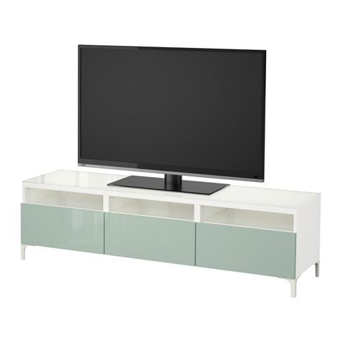 【IKEA/イケア/通販】 BESTÅ テレビ台 引き出し付き, ホワイト, セルスヴィーケン ハイグロス/ライトグレーグリーン(a)(S79208945)