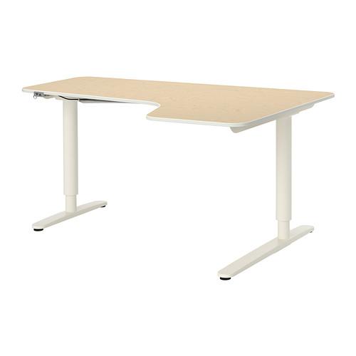 【IKEA/イケア/通販】 BEKANT コーナーデスク 右 電動昇降式, バーチ材突き板, ホワイト(S89187749)