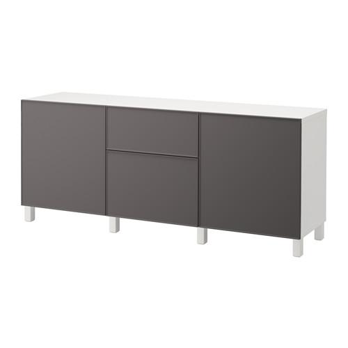 【IKEA/イケア/通販】 BESTÅ 収納コンビネーション 引き出し付, ホワイト, グルンドスヴィーケン ダークグレー(a)(S89205041)