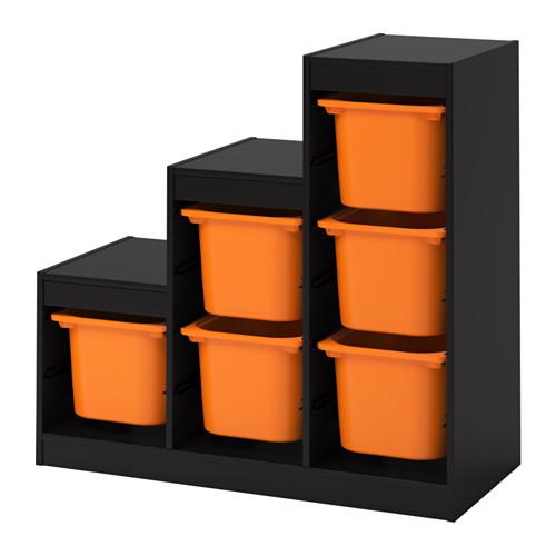 【IKEA/イケア/通販】 TROFAST 収納コンビネーション, ブラック, オレンジ(a)(S89222408)