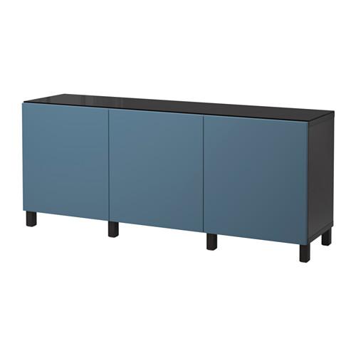 【IKEA/イケア/通販】 BESTÅ 収納コンビネーション 扉付, ブラックブラウン, ヴァルヴィーケン ダークブルー(a)(S89208983)