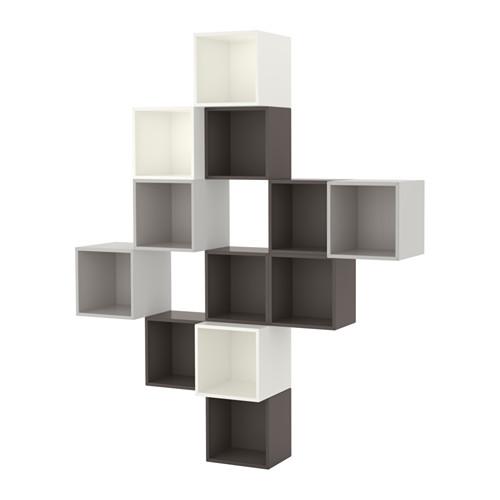 【IKEA/イケア/通販】 EKET 壁取り付け式キャビネットコンビネーション, ホワイト/ダークグレー, ライトグレー(a)(S99189154)