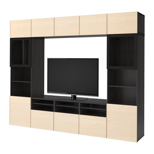 【IKEA/イケア/通販】 BESTÅ テレビ収納コンビネーション/ガラス扉, ブラックブラウン, イーンヴィーケン アッシュ材突き板(a)(S99203471)