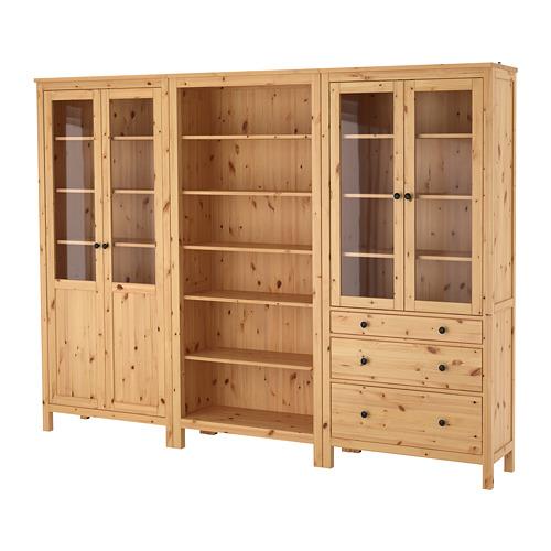 【IKEA/イケア/通販】 HEMNES 収納コンビネーション 扉/引き出し付き, ライトブラウン, ガラス(b)(S99235764)