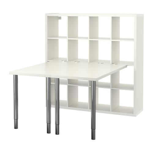 【IKEA/イケア/通販】 KALLAX カラックス デスクコンビネーション, ホワイト, クロムメッキ(c)(S99246442)