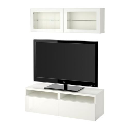 【IKEA/イケア/通販】 BESTÅ テレビ収納コンビネーション/ガラス扉, ホワイト, セルスヴィーケン ハイグロス/ホワイトクリアガラス(a)(S99185207)