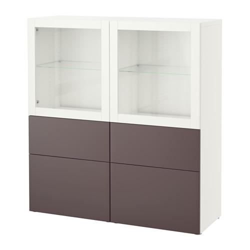 【IKEA/イケア/通販】 BESTÅ 収納コンビネーション ガラス扉付き, ホワイト, ヴァルヴィーケン ダークブラウンクリアガラス(a)(S99187541)