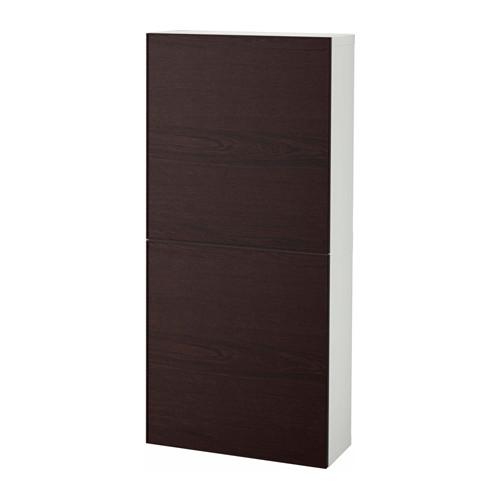 【IKEA/イケア/通販】 BESTÅ ウォールキャビネット 扉2枚付き, ホワイト, イーンヴィーケン ブラックブラウン(a)(S99203409)