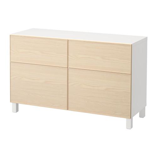 【IKEA/イケア/通販】 BESTÅ 収納コンビネーション 扉/引き出し付き, ホワイト, イーンヴィーケン アッシュ材突き板(a)(S99206115)