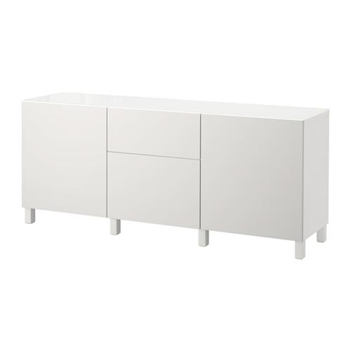 【IKEA/イケア/通販】 BESTÅ 収納コンビネーション 扉/引き出し付き, ホワイト, ラップヴィーケン ライトグレー(a)(S99208850)