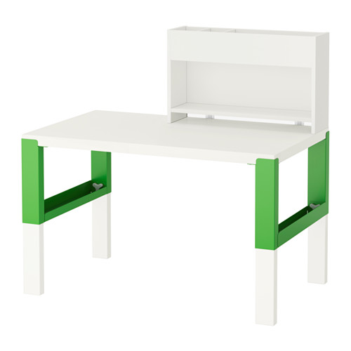 【IKEA/イケア/通販】 PÅHL デスク 追加ユニット付き, ホワイト, グリーン(d)(S99245150)