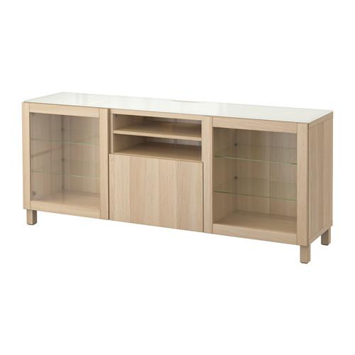 【IKEA/イケア/通販】 BESTÅ テレビ台, ラップヴィーケン, シンドヴィーク ホワイトステインオーク調 クリアガラス(a)(S99196772)