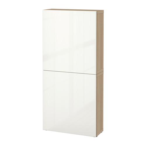 【IKEA/イケア/通販】 BESTÅ ウォールキャビネット 扉2枚付き, ホワイトステインオーク調, セルスヴィーケン ハイグロス/ホワイト(a)(S99187206)