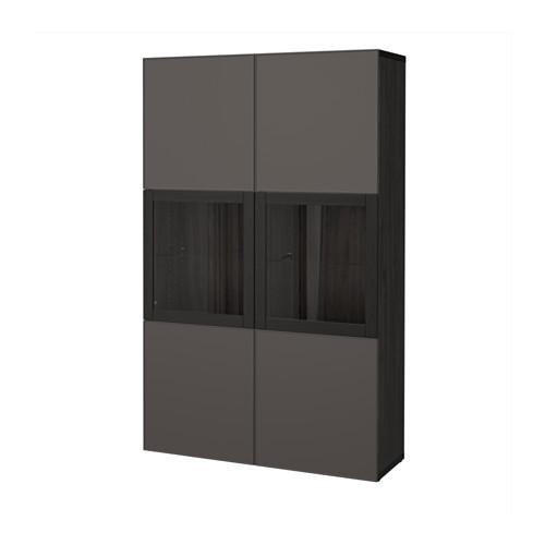 【IKEA/イケア/通販】 BESTÅ 収納コンビネーション ガラス扉付き, ブラックブラウン グルンドスヴィーケン, ダークグレー クリアガラス(a)(S99205521)