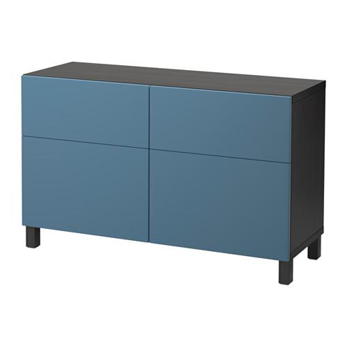 【IKEA/イケア/通販】 BESTÅ 収納コンビネーション 扉/引き出し付き, ブラックブラウン, ヴァルヴィーケン ダークブルー(a)(S99206101)
