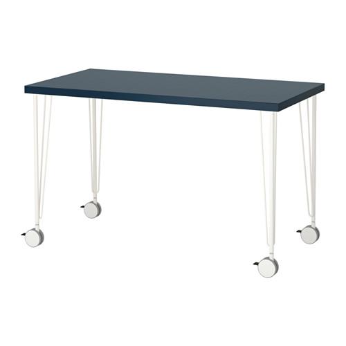 【特選商品】【IKEA/イケア/通販】 LINNMON / KRILLE テーブル, 幾何学模様 ブルー, ホワイト(a)(S99214219)