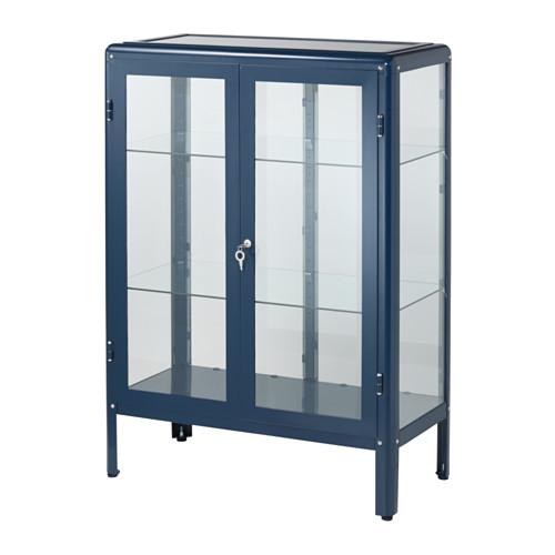 【期間限定】【IKEA/イケア/通販】 FABRIKÖR ガラス扉キャビネット, ブルー(d)(80363172)