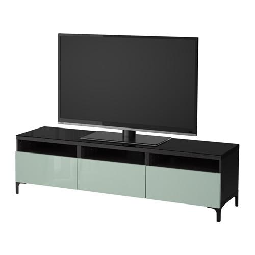 【IKEA/イケア/通販】 BESTÅ テレビ台 引き出し付き, ブラックブラウン, セルスヴィーケン ハイグロス/ライトグレーグリーン(a)(S59208951)