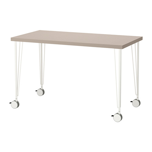 【特選商品】【IKEA/イケア/通販】 LINNMON / KRILLE テーブル, 幾何学模様 ベージュ, ホワイト(a)(S39214217)