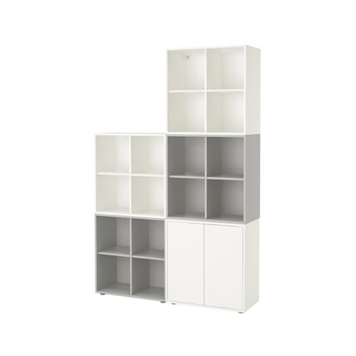 【IKEA/イケア/通販】 EKET キャビネットコンビネーション 足付き, ホワイト/ライトグレー(a)(S99221088)