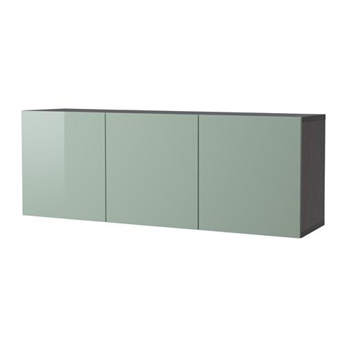 【IKEA/イケア/通販】 BESTÅ 壁取り付け式キャビネットコンビネーション, ブラックブラウン, セルスヴィーケン ハイグロス/ライトグレーグリーン(a)(S99231290)