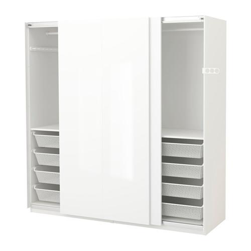 【IKEA/イケア/通販】 PAX ワードローブ, ホワイト, ハスヴィーク ハイグロス/ホワイト(a)(S89128199)