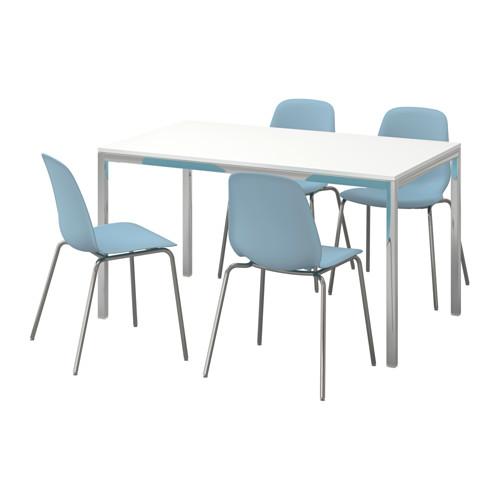 【IKEA/イケア/通販】 TORSBY / LEIFARNE テーブル&チェア4脚, ハイグロス ホワイト, ライトブルー(c)(S79184063)