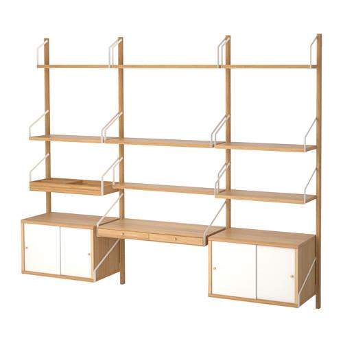【IKEA/イケア/通販】 SVALNÄS 壁取り付け式ワークスペースコンビネーション, 竹, ホワイト(a)(S89184454)