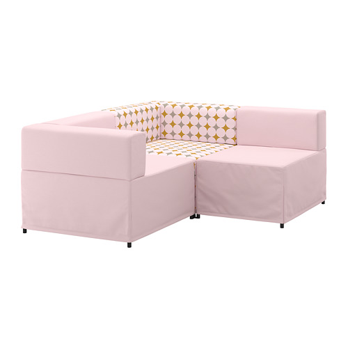 【IKEA/イケア/通販】 KUNGSHAMN モジュールソファ、2人掛け, イーデクッラ ピンク, イッテレード マルチカラー マルチカラー(a)(S19249543)