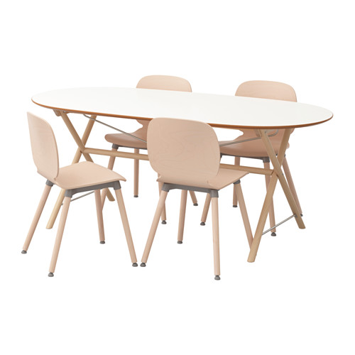 【IKEA/イケア/通販】 SLÄHULT/DALSHULT / SVENBERTIL テーブル&チェア4脚, バーチ ホワイト, バーチ(a)(S19251239)