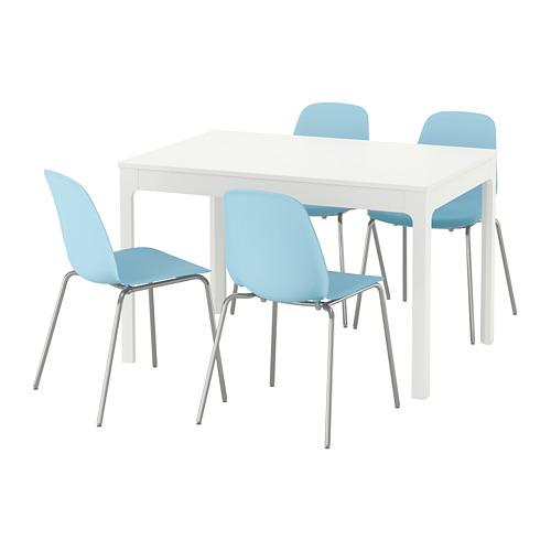【IKEA/イケア/通販】 EKEDALEN / LEIFARNE テーブル&チェア4脚, ホワイト, ライトブルー(a)(S09221337)