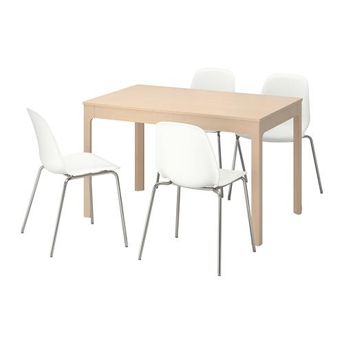 【IKEA/イケア/通販】 EKEDALEN / LEIFARNE テーブル&チェア4脚, バーチ, ホワイト(a)(S29221464)