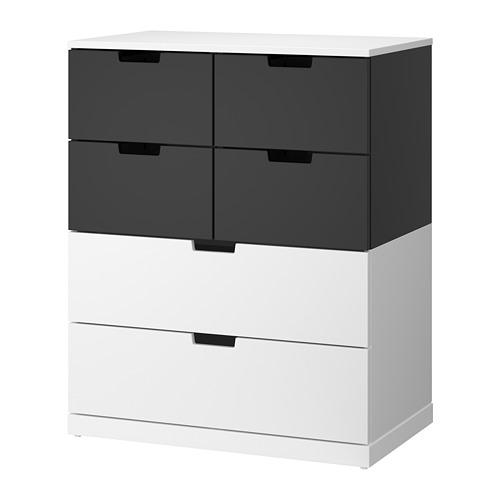 【IKEA/イケア/通販】 NORDLI チェスト(引き出し×6), ホワイト, チャコール(a)(S19211762)