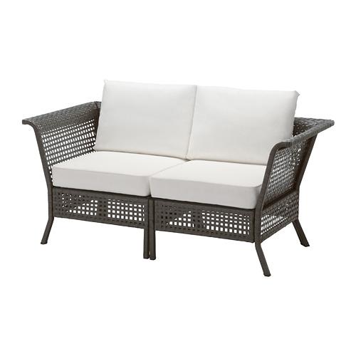 【IKEA/イケア/通販】 KUNGSHOLMEN 2人掛けソファ 屋外用, ブラックブラウン, クングソー ホワイト(a)(S29219277)