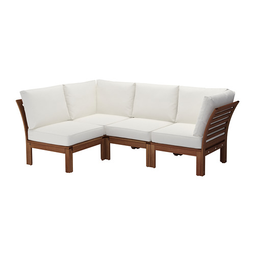 【IKEA/イケア/通販】 ÄPPLARÖ コーナーソファ 3+1 屋外用, ブラウンステイン, クングソー ホワイト(a)(S09259820)
